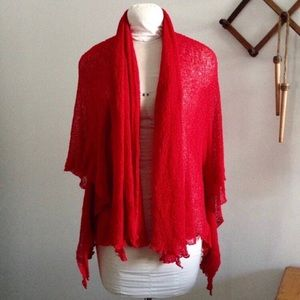Open Weave Red Cardigan